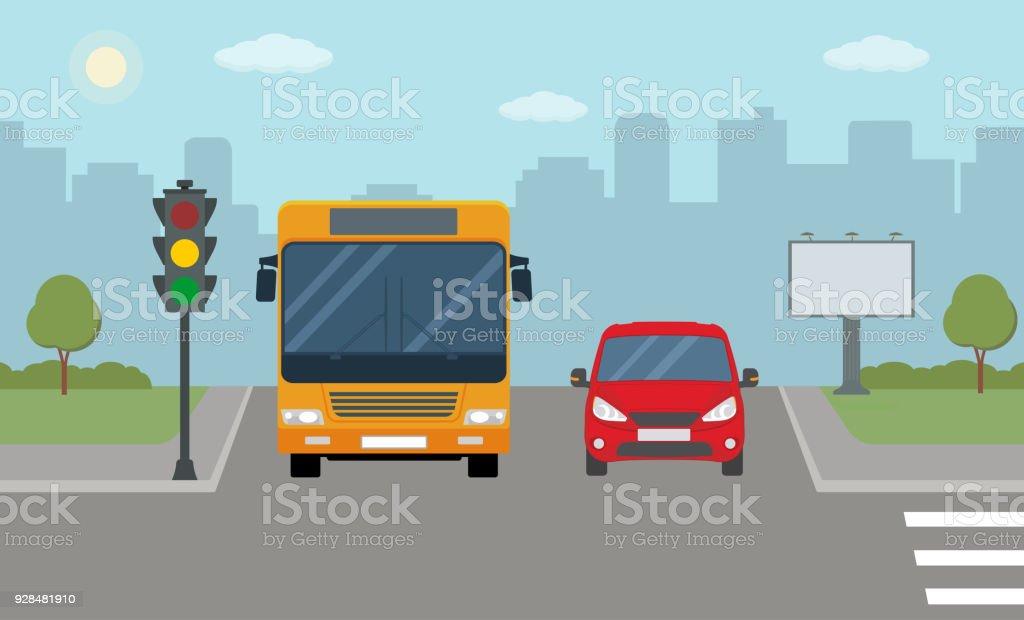 Bus y coche rojo parado en un semáforo. - ilustración de arte vectorial