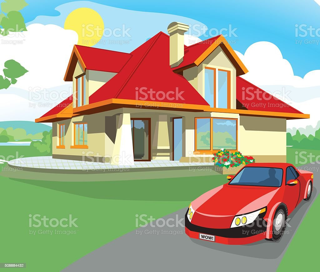 Red car and home vector art illustration