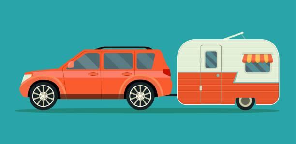 stockillustraties, clipart, cartoons en iconen met rode auto en aanhangwagens caravan geïsoleerd. vlakke stijl vectorillustratie - caravan