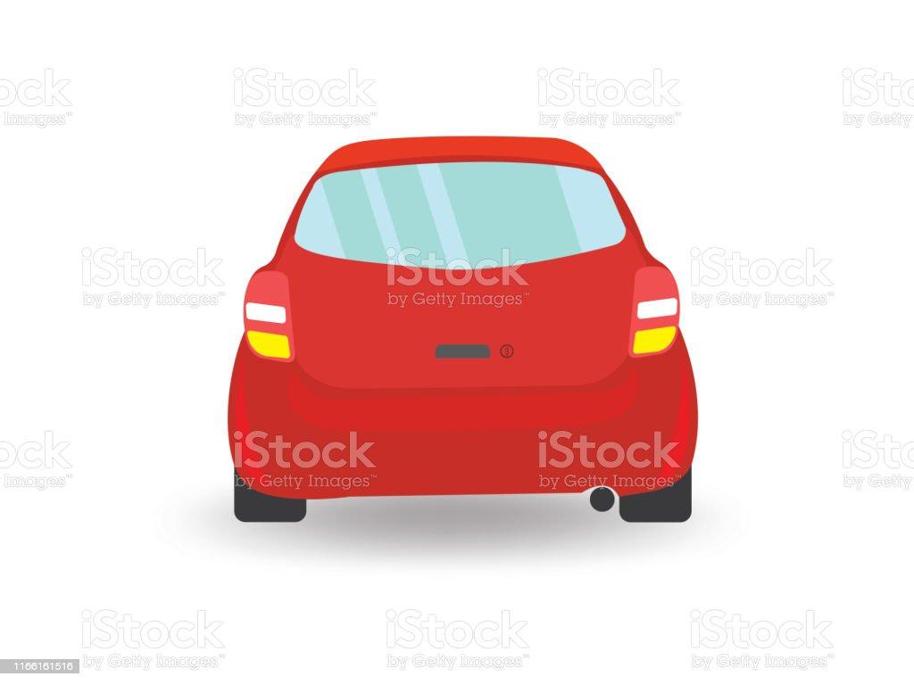 Red car back side view illustration vector