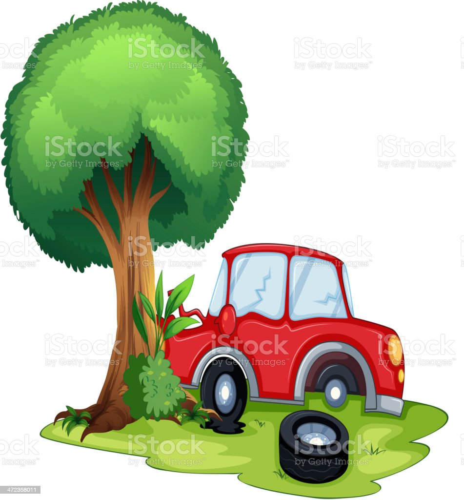 Red car bumping on a tree royalty-free stock vector art