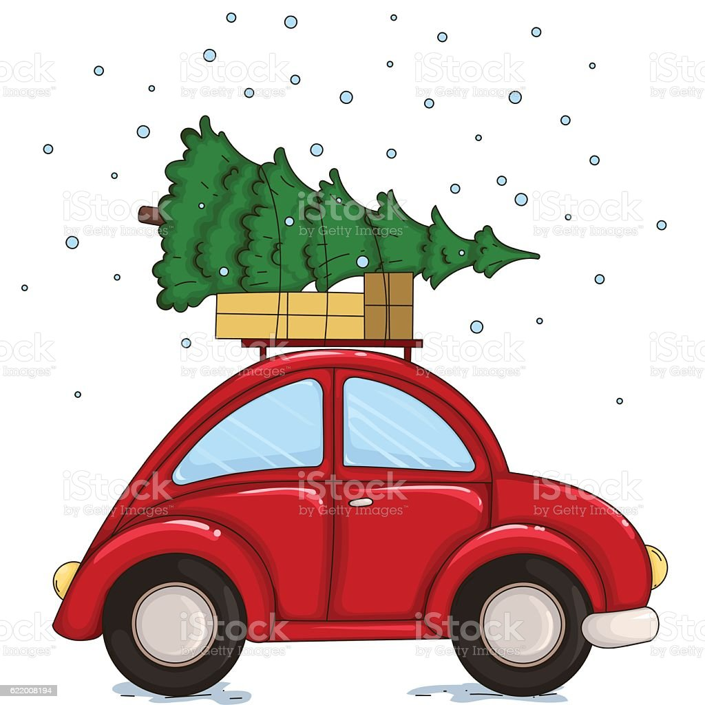 Car Christmas Tree.Red Car Driven By A Christmas Tree And Presents Stock