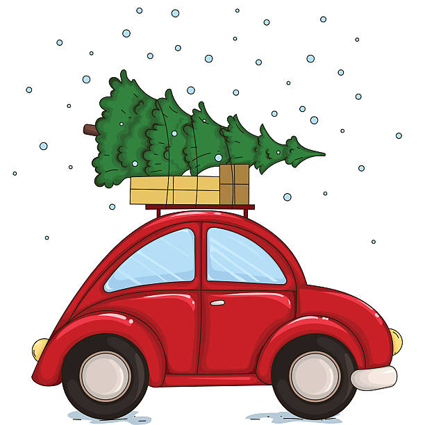 red car driven by a christmas tree and presents. - weihnachtsauto stock-grafiken, -clipart, -cartoons und -symbole