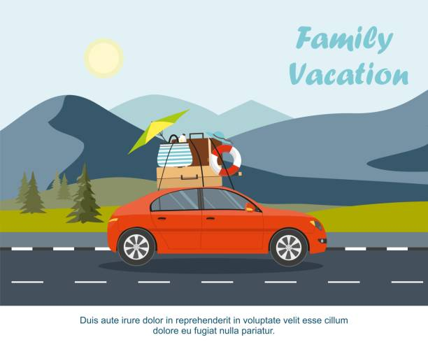 red car driving with luggage on the road. mountain landscape with fir forest - road trip stock illustrations