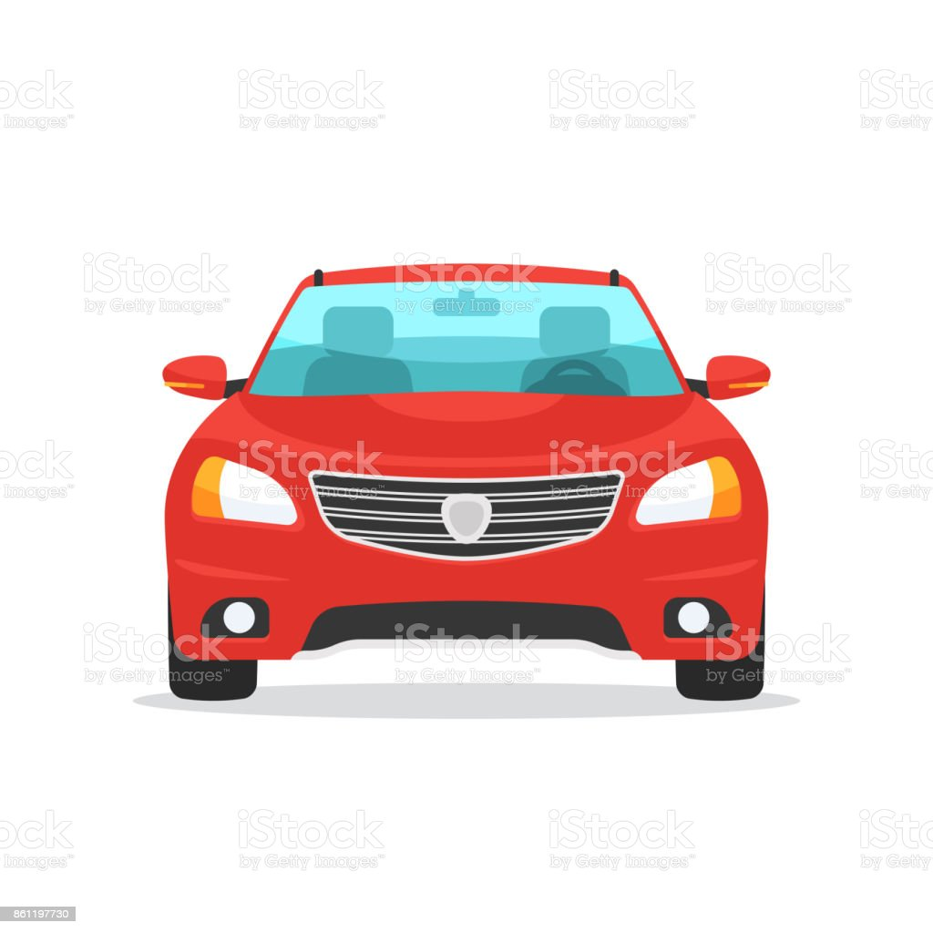 Red car front view Red car symbol. Front view automobile. Vector illustration in trendy flat style design isolated on white background Car stock vector