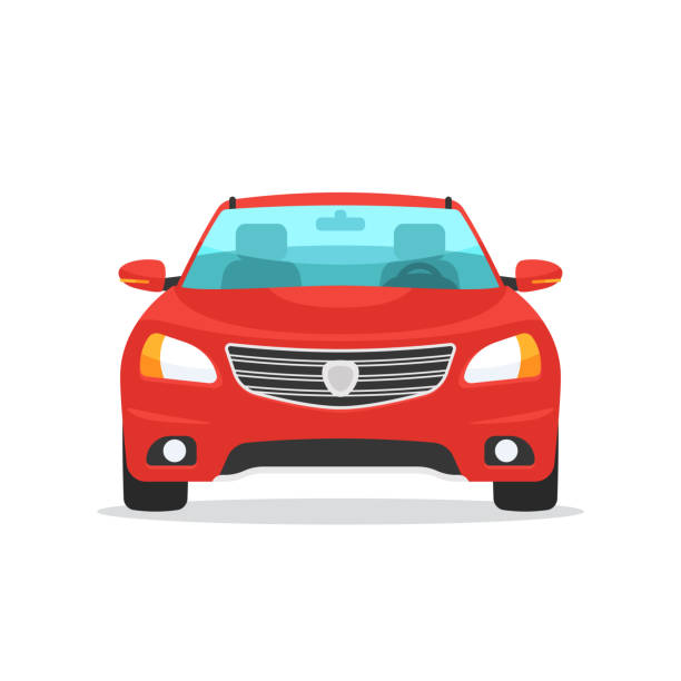 illustrazioni stock, clip art, cartoni animati e icone di tendenza di red car front view - car