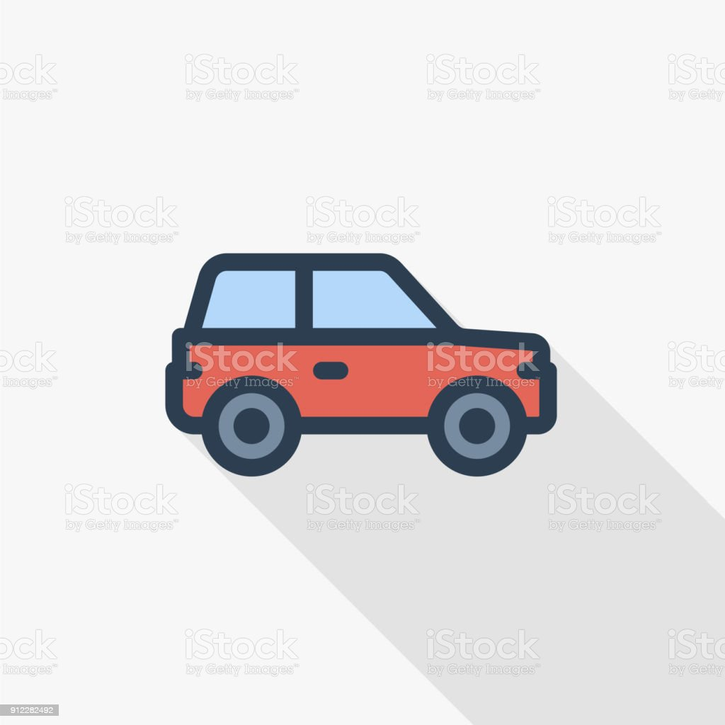 red car, hatchback thin line flat color icon. Linear vector symbol. Colorful long shadow design. vector art illustration