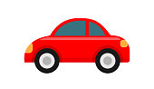 red car icon isolated on white background, clip art car red cute, illustration car flat simple for infographic design, car shape concept for children learning