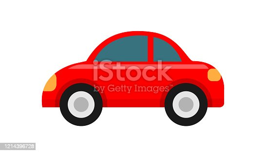 istock red car icon isolated on white background, clip art car red cute, illustration car flat simple for infographic design, car shape concept for children learning 1214396728