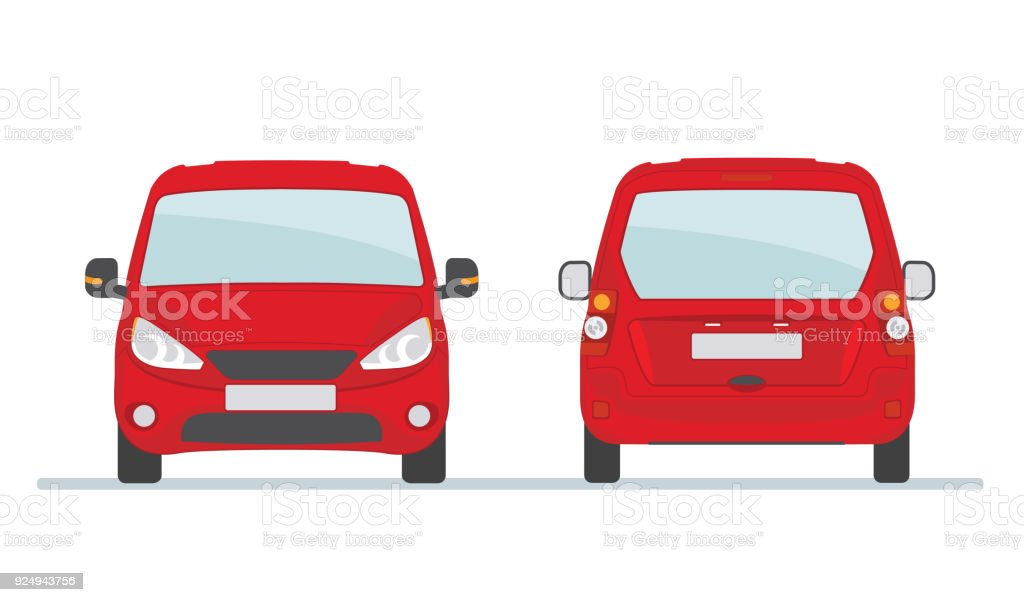 Red car isolated on white background. vector art illustration