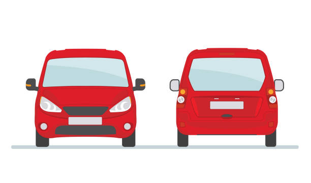 Red car isolated on white background. Red car isolated on white background. Front and rear view. Vector illustration. back stock illustrations