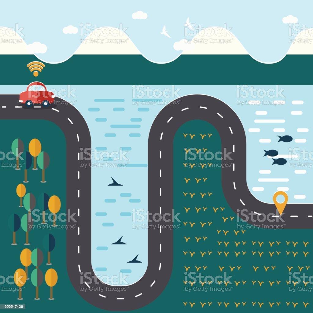 Carte Wifi Thailande.Voiture Rouge Sur La Longue Route Entre Paysage Naturel Avec Wifi
