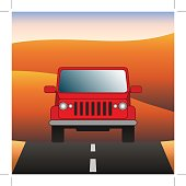 Red car on the road SUV rides through the desert. Sport utility vehicle on the background of desert landscape. Vector illustration