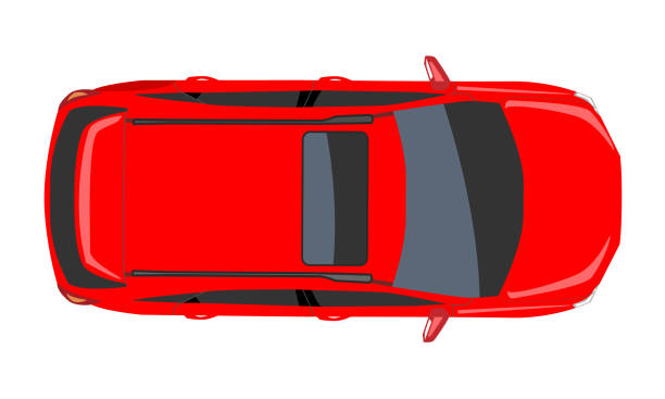 Red Car top view. Flat and solid color style design Vector illustration. Red Car top view. High detailed flat and solid color style design Vector illustration. hatchback stock illustrations