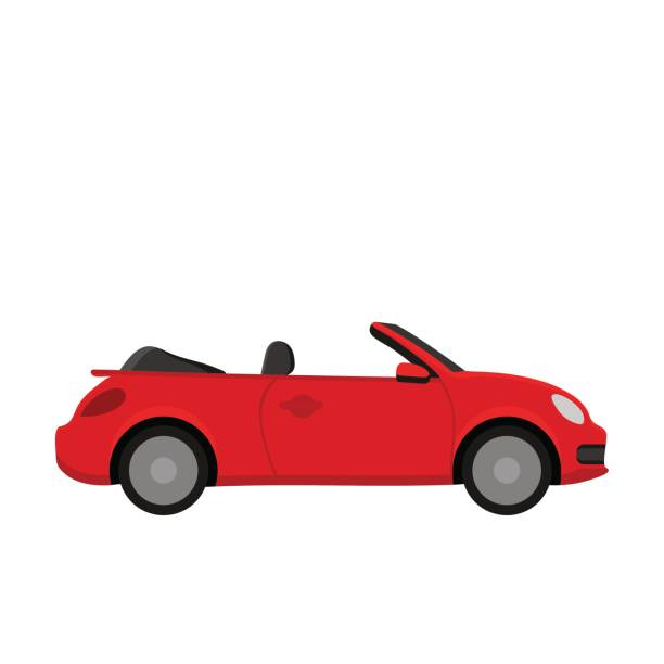 Red car. Red car. Flat design convertible stock illustrations