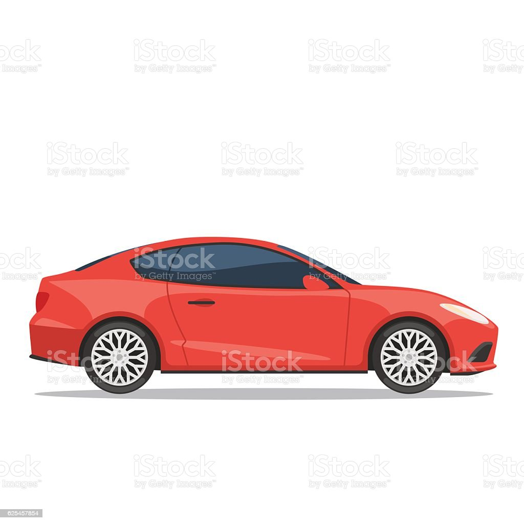 Red car vector illustration - ilustración de arte vectorial
