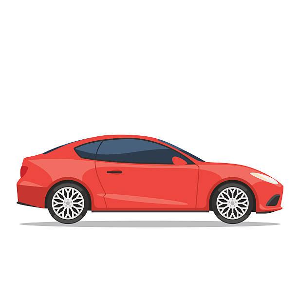 red car vector illustration - car stock illustrations, clip art, cartoons, & icons