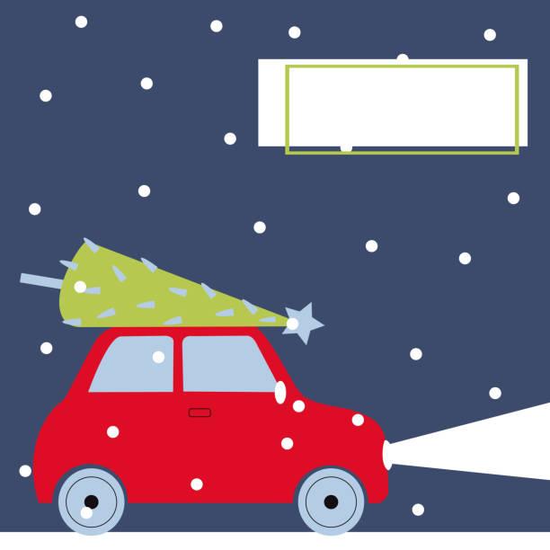 stockillustraties, clipart, cartoons en iconen met rode auto met een kerstboom. - pinaceae