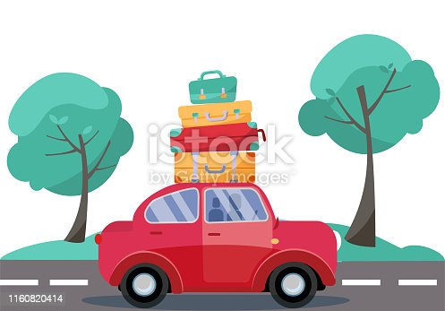 Red car with baggage on the roof. Summer family traveling by car. Flat cartoon vector illustration. Car Side View With stack of suitcases on background of green trees. Many bags on the top of vehicle.