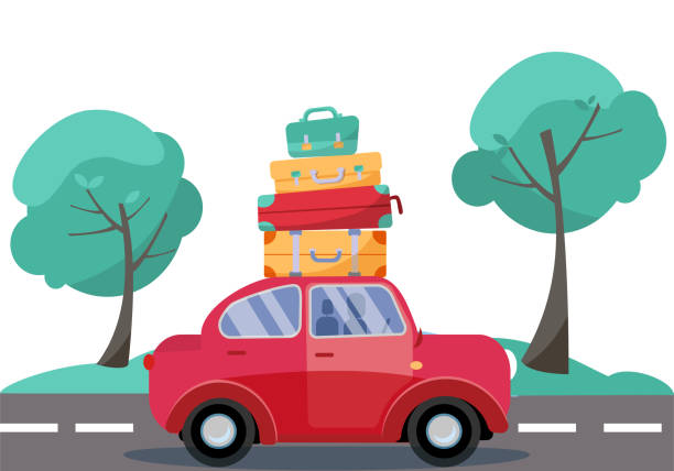 red car with baggage on the roof. summer family traveling by car. flat cartoon vector illustration. car side view with stack of suitcases on background of green trees. many bags on the top of vehicle - road trip stock illustrations