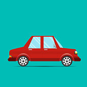 Red Car.A red car with a green background - Vector illustration.