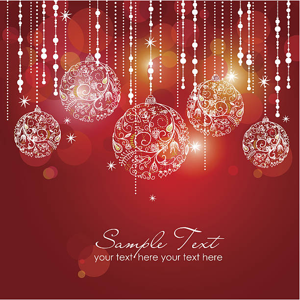 Red card with christmas balls vector art illustration