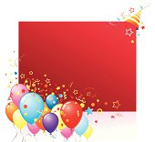 Red card with colorfull balloons, party hat and confetti.