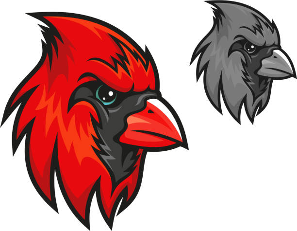 red cardinal bird in cartoon style - cardinal mascot stock illustrations, clip art, cartoons, & icons