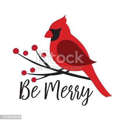 istock Red Cardinal Bird on a Winterberry Branch Vector Illustration 1073548546