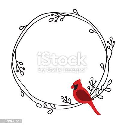 istock Red Cardinal Bird on a Wreath Frame Vector 1278532831
