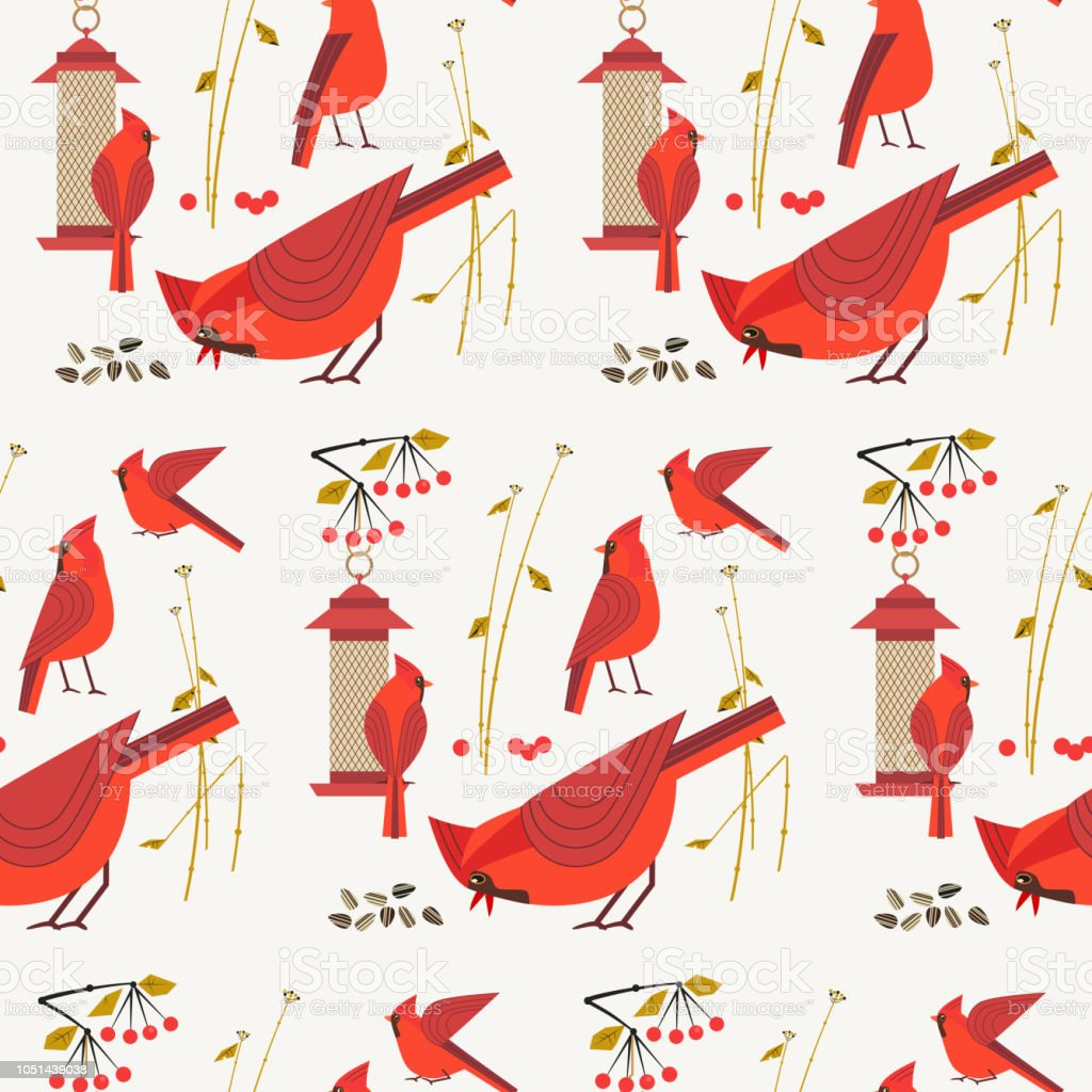 Red Cardinal Birds Pattern Stock Vector Art More Images Of