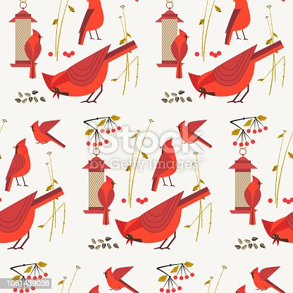 Red Northern Cardinal birds seamless pattern. Cartoon cute minimal style. Winter bird of city garden, backyard. Wild animal feeding. Textile print, wrapping, wallpaper, background. Vector illustration