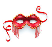 Vector illustration of a red carnival mask with jewels.