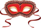 Illustration of a red carnival mask isolated on white background.