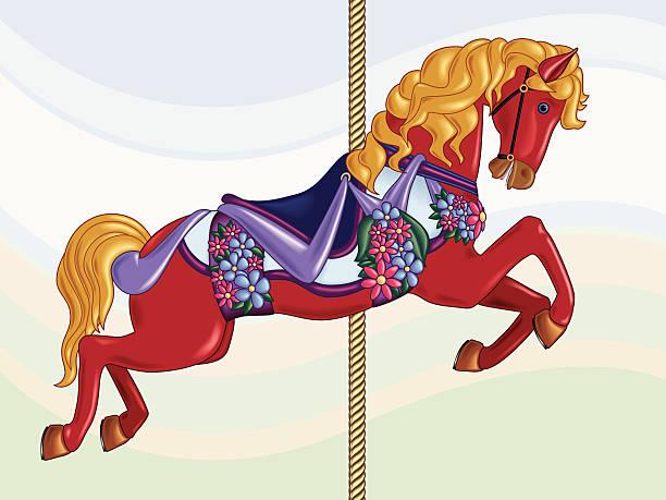 Red Carousel Horse vector art illustration