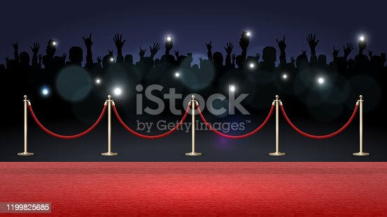 istock Red carpet and crowd of fans 1199825685