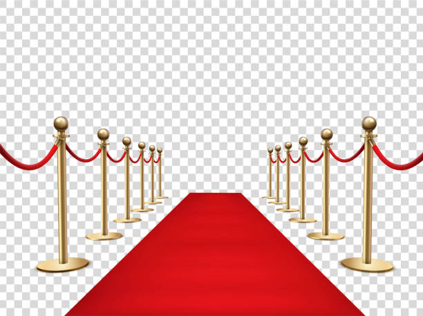 Red carpet and golden barriers realistic 3d vector illustration vector art illustration