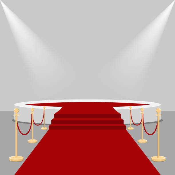 red carpet and podium. - oscars stock illustrations, clip art, cartoons, & icons