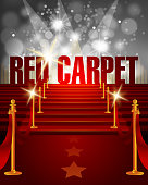 Red Carpet Background with Copy Space. Each element in a separate layers. Very easy to edit vector EPS10 file. It has transparency layers with blend effects.
