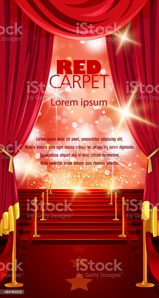 Red Carpet Background with Copy Space royalty-free stock vector art
