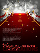 Entertainment Red Carpet Background with Copy space. Each element in a separate layers. Very easy to edit vector EPS10 file. It has transparency layers with blend effects.