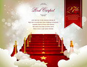 Red Carpet Card with Defocused Background. Each element in a separate layers. Very easy to edit vector EPS10 file. It has transparency layers with blend effects.