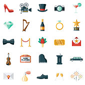 A set of award show/black tie event themed icons. File is built in the CMYK color space for optimal printing. Color swatches are global so it's easy to edit and change the colors.