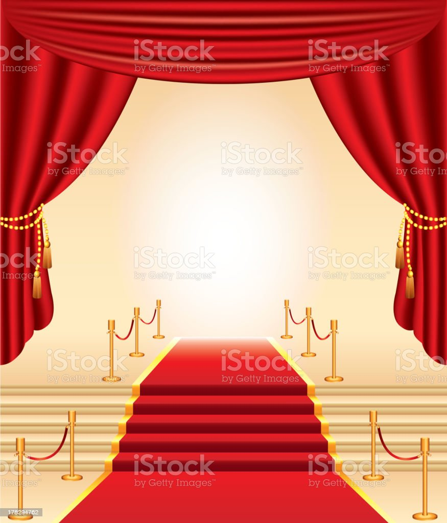 red carpet, golden stanchions, stairs and curtains royalty-free stock vector art