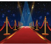 A red carpet is stretching into the distance