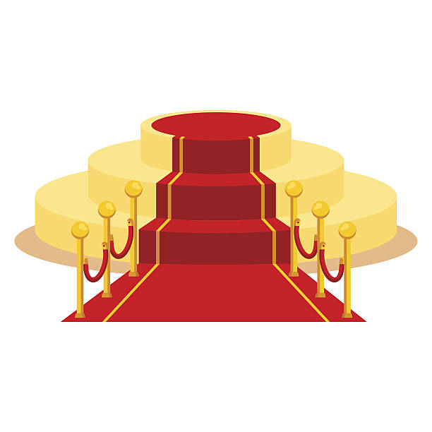 red carpet isolated - oscars stock illustrations, clip art, cartoons, & icons