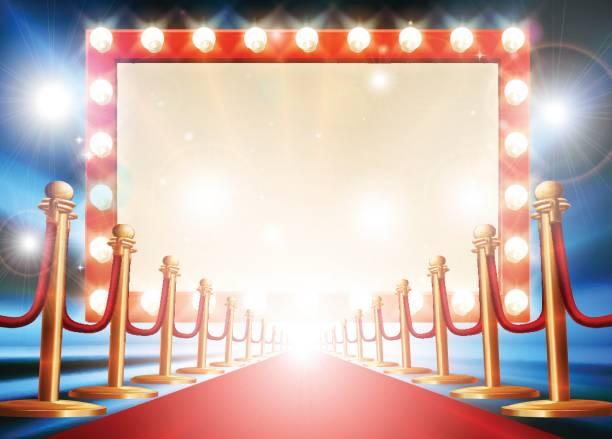 Red Carpet Light Bulb Sign Red carpet background with theatre or cinema style light bulb sign premiere event stock illustrations