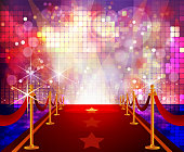 Red Carpet with Disco Flashy Background. Each element in a separate layers. Very easy to edit vector EPS10 file. It has transparency layers with blend effects.
