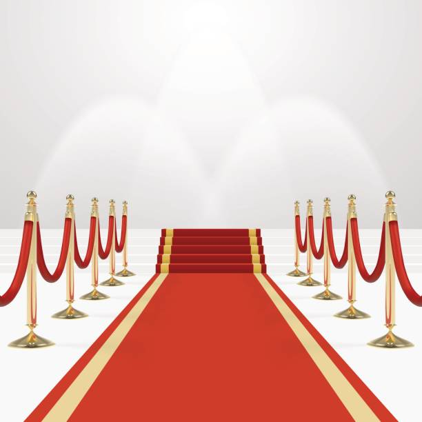 Red carpet on stairs Red carpet on stairs. Empty white illuminated podium. Blank template illustration with space for an object, person, , text. Presentation, gala, ceremony, awards concept. premiere event stock illustrations
