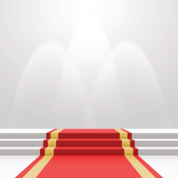 Red carpet on stairs Red carpet on stairs. Empty white illuminated podium. Blank template illustration with space for an object, person, logo, text. Presentation, gala, ceremony, awards concept. premiere event stock illustrations